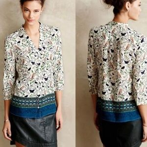 Anthropologie Maeve Owl and Butterfly Print Top